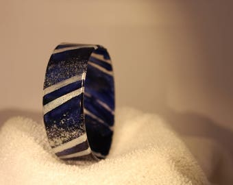 Dark Blue & Silver Bangle Bracelet Upcycled Plastic Shiny