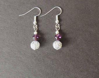 Silver plated Stud Earrings, Amethyst Swarovski beads