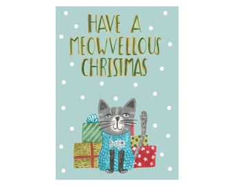 Cat Christmas Card - Have a meowvellous Christmas
