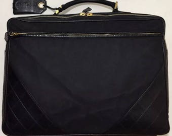 Vintage CHANEL Travel Bag Lambskin/Canvas Quilted Carry On Suitcase Luggage