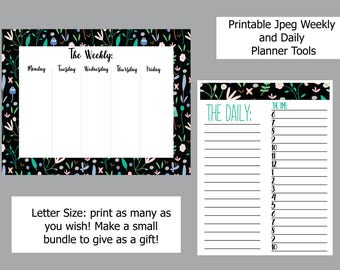 Weekly and Daily Planner by time; printable, digital download