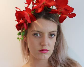 Red Orchid Flower Crown Headdress Festival Headpiece Fascinator