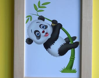 Decoration for children's room: Adorable panda, black white and green colors
