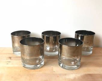 Mid-Century Mercury Glass Tumblers - Set of 5