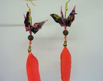 Dangling cranes origami earrings purple orange feathers