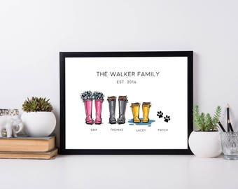 Wellington Boot Print | Wellington Printable | New Home Prints | Wall Art | Home Decor | Wall Decor | Family Printable