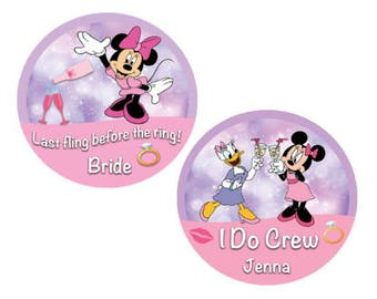 I Do Crew Bachelorette Party Button - Minnie Mouse and Daisy Duck Button - Disney Bachelorette Button - Bridal Crew - Disney Wedding Pins