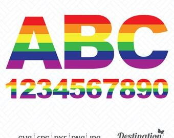 Pride Alphabet SVG Files, Gay Pride Cutting Files, Alphabet Silhouette Files, Cricut Files, Vinyl Decal Vector, dxf eps png jpg pdf, D/035