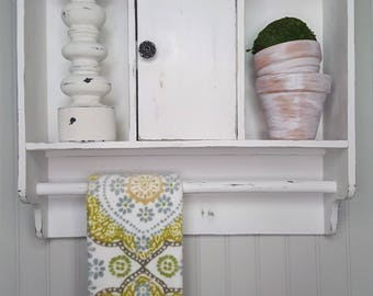 white shabby chic vintage style upcycled cabinet farmhouse cabinet rustic cabinetbathroom cabinet