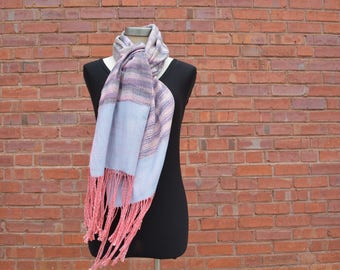 Pink + Blue Scarf - HANDWOVEN - HAND DYED