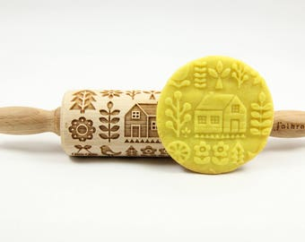 SCANDINAVIAN FOLK junior engraved rolling pin for cookies, embossing rolling pin by laser, gift for kids