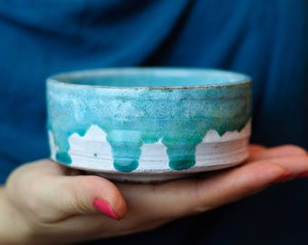 "Matcha Chawan, Tea Bowl, handmade ceramic tea cup, handmade pottery, White and green pottery Tea Bowl.   4.3"" diameter and 2"" tall. 7.7 oz."