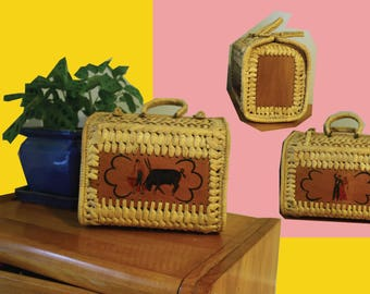 Vintage Women's Wooden/Straw Hand Painted Basket Bag 60's Style