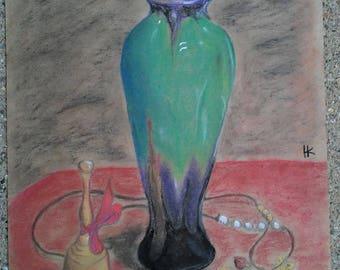 Vase Still Life - Original Pastel Drawing