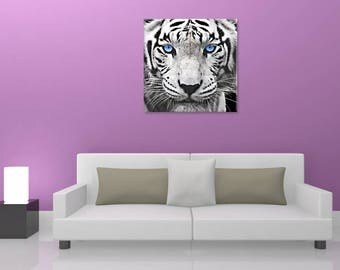 Table white tiger painting on canvas, multi format, digital art