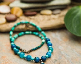 Blue Agate necklace/pendant, Rhyolite, Turquoise, Chrysocolla, Cyan Blue Pendant, all natural stones