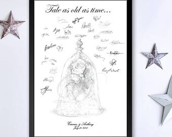 Beauty And The Beast 2017 Inspired Guestbook Print Guest Book Fairytale Bridal Shower