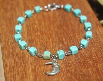 Turquoise Chain Link Moon Bracelet