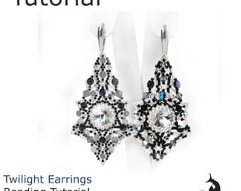 Twilight Earrings beading tutorial, Beading pattern, Earrings tutorials and pattern, Earrings on rivoli 14 mm, beadweaving tutorial