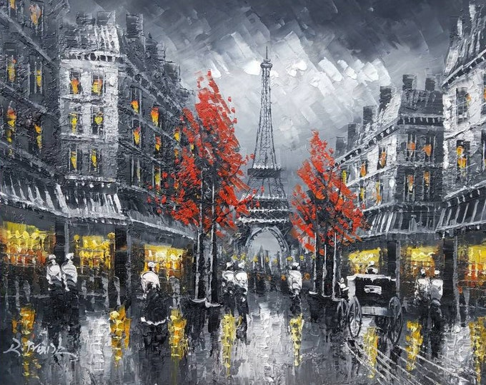 Paris Art Eiffel Tower Painting Handmade Oil on Canvas Wall Art Beautiful Decor
