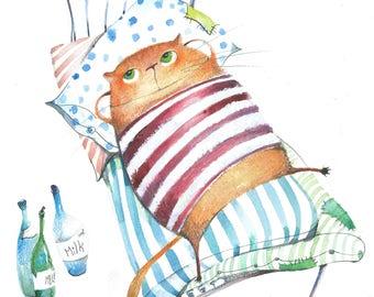 Chillax Cat Print | Animal Art Print | Cat Gift