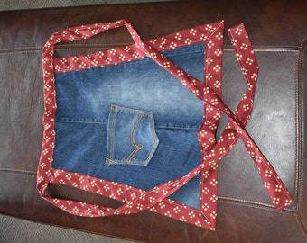 Repurposed Denim Half Apron