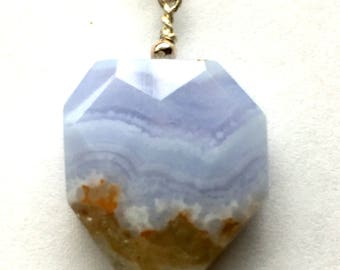 Natural Blue Lace Agate Chalcedony Faceted Pendant