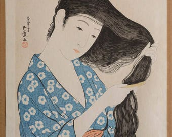 Authentic original antique Japanese woodblock print by HASHIGUCHI GOYO (December 21, 1880 – February 24, 1921) - Woman combing her Hair.