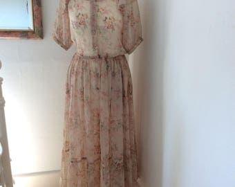 Chiffon silk over dress. 1980s designer.
