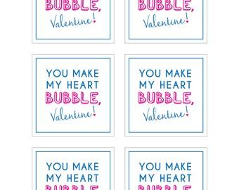 Bubble Valentine's Day Card - Attach to bubbles - Kids Valentine's Day Cards - Ready to Print - Pink