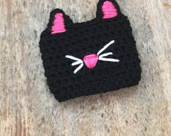 cat coffee cozy/black cat coffee cozy/coffee sleve/kitty mug cover