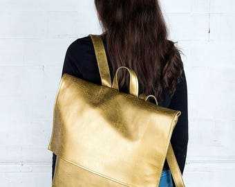 SPACEBAG backpack SQUARE old gold / gold backpack / golden / simple design /