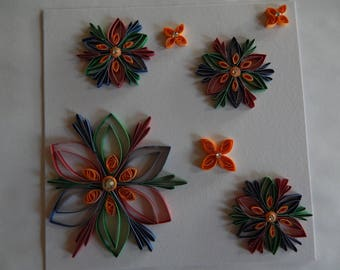 Handmade quilled card of flowers