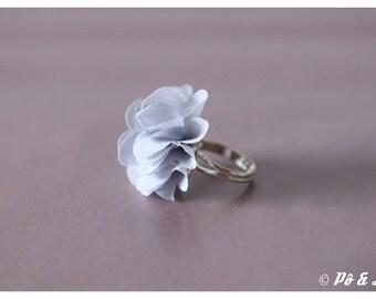 Ring made of chiffon grey & silver #0929