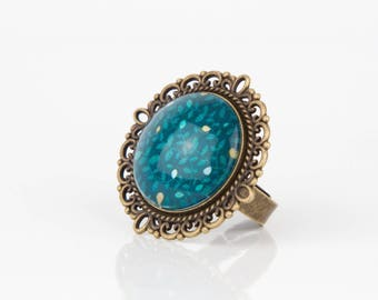Teal leaves #1271 cabochon ring