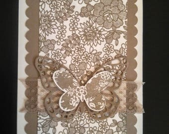 Taupe Lace Butterfly Handmade Greeting Card