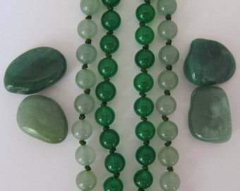 The Tie Necklace - Aventurine and Jade Necklace - Genuine Gemstones & Pure Silk Thread