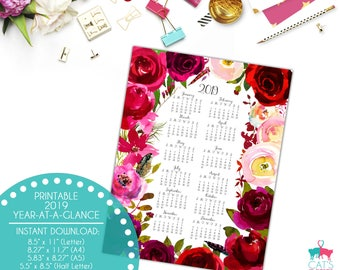 Year-at-a-Glance 2019 | Boho Bordo Flowers | Digital | Instant Download | Printable