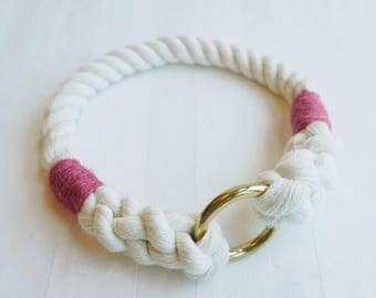 Hot Pink Classic Nautical Rope Dog Collar