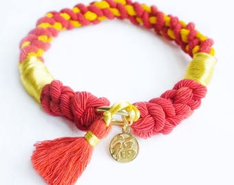 Lucky Chinese New Year Rope Dog Collar