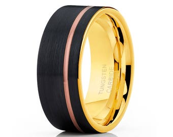 Yellow Gold Tungsten Wedding Band Tungsten Carbide Ring Men & Women Rose Gold Tungsten Ring Engagement Band Brush Offset Groove