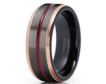 Gunmetal Tungsten Wedding Band Maroon Wedding Band Rose Gold Tungsten Men & Women Tungsten Carbide Black Ring