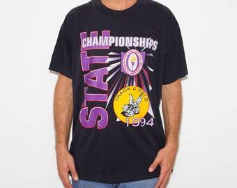 Athletic, Sports Shirt, State Championship, Track & Field, Sports, Sporty, High School Tshirt, Sportsman, Vintage Tshirt, 90s, Black Shirt