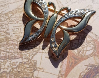 Vintage Gold Plated Butterfly Brooch with Glass Stones