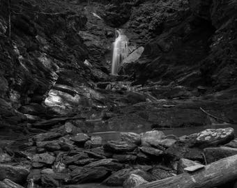 Cascade Falls - Waterfalls, Black and White, Rocks, Cascades - Photographic Print