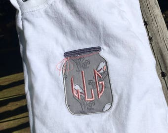 Monogram Shirt Mason Jar with Bird and Toadstool Patterns, Great Gift, Southern Tee