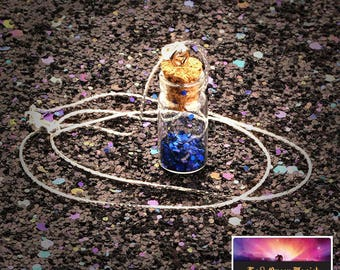 Necklace made of Glass Vial - Bottle Cork with Oils Locket Potions - Lucky Talisman - Includes Crystals and Elixirs - Stainless Steel