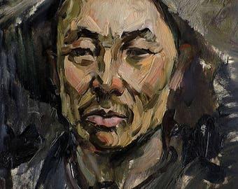 VINTAGE MALE PORTRAIT Original Oil Painting by listed Soviet artist V. Karkots 1960s Man's Portrait, Socialist realism, Unique High Quality