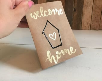 Welcome Home Card, Housewarming Card, New House Card, First Home Card, Home Sweet Home, Handmade Card, Calligraphy Card, Gold Lettering