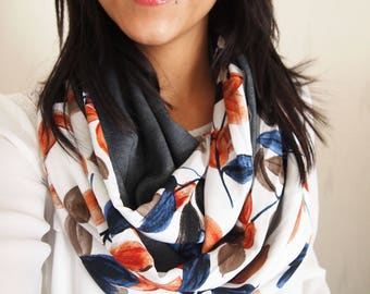 Snood collar double twist, mid-season XXL, leaf motifs and blue jean